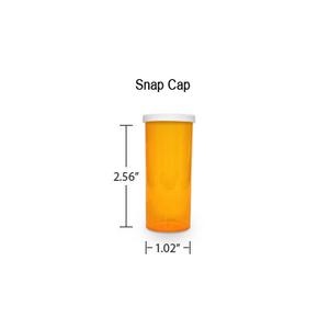 Amber Pharmacy Vials, Snap Off Caps, 8 dram (1/2 oz)