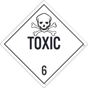 "Toxic 6 Dot Placard Sign Adhesive Backed Vinyl, 10.75"" X 10.75"""