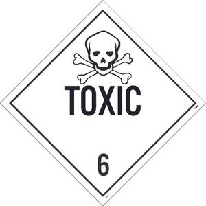 "Toxic 6 Dot Placard Sign Unrippable Vinyl, 10.75"" X 10.75"""