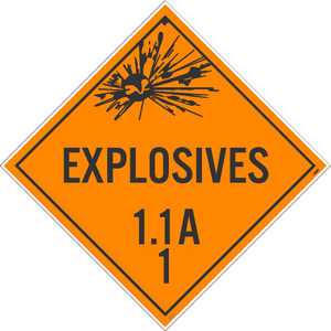 """Explosive 1.1a 1 Dot Placard Sign Adhesive Backed Vinyl, 10.75"""" X 10.75"""""""