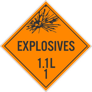 """Explosives 1.1l 1 Dot Placard Sign Adhesive Backed Vinyl, 10.75"""" X 10.75"""""""