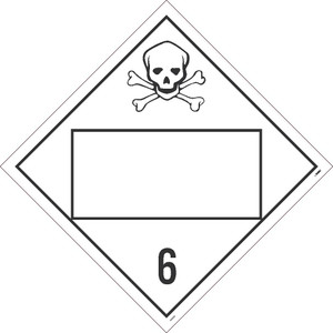 """6 Poisonous And Infectious Substances Placard Sign Adhesive Backed Vinyl, 10.75"""" X 10.75"""""""