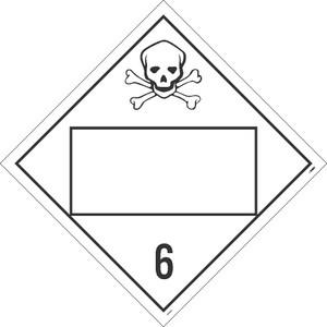 "6 Poisonous And Infectious Substances Placard Sign Unrippable Vinyl, 10.75"" X 10.75"""