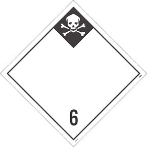 """6 Poisonous And Infectious Substances Blank Dot Placard Unrippable Vinyl, 10.75"""" X 10.75"""""""
