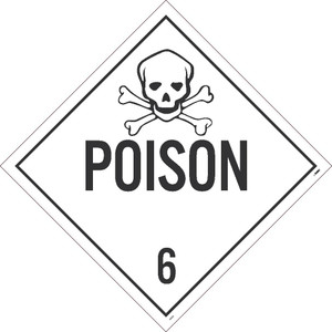 "Poison 6 Dot Placard Sign Unrippable Vinyl, 10.75"" X 10.75"""