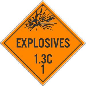 "Explosives 1.3c 1 Dot Placard Sign Unrippable Vinyl, 10.75"" X 10.75"""