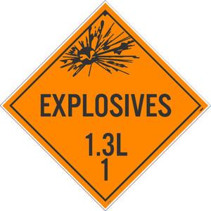 "Explosives 1.3l 1 Dot Placard Sign Unrippable Vinyl, 10.75"" X 10.75"""