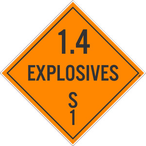 """1.4 Explosives S 1 Dot Placard Sign Adhesive Backed Vinyl, 10.75"""" X 10.75"""""""