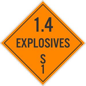 1.4 Explosives S 1 Dot Placard Sign Pressure Sensitive Removable Vinyl .0045