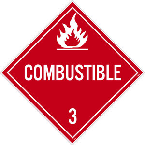"""Combustible 3 Dot Placard Sign Unrippable Vinyl, 10.75"""" X 10.75"""""""