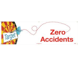 "Zero Accidents Banner Polyethylene, 36"" X 10'"