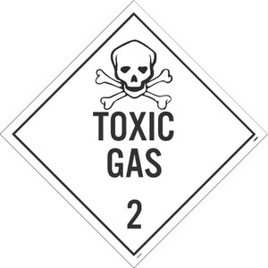 "Toxic Gas 2 Dot Placard Sign Adhesive Backed Vinyl, 10.75"" X 10.75"""