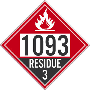 """1993 Residue 3 Dot Placard Sign Unrippable Vinyl, 10.75"""" X 10.75"""""""
