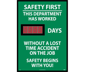 "Safety First This Department Has Worked Digital Scoreboard Rigid, 28"" X 20"""