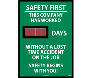 "Safety First This Company Has Worked Days Scoreboard, 28"" X 20"""