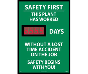 "Safety First This Plant Has Worked Digital Scoreboard, 28"" X 20"""
