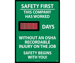 "Safety First This Company Has Worked Days Scoreboard Rigid Plastic, 28"" X 20"""