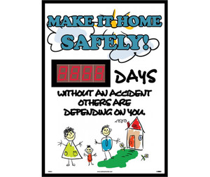 "Make It Home Safely Digital Scoreboard Rigid Plastic, 28"" X 20"""