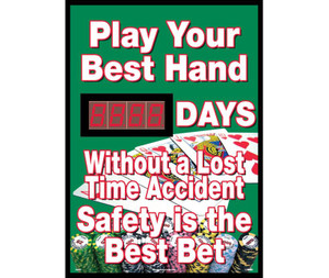 "Play Your Hand Days Without A Lost Time Accident Scoreboard, 28"" X 20"""