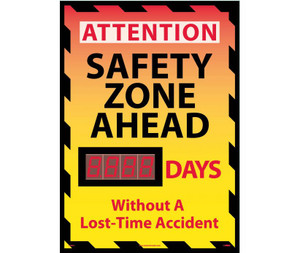 "Attention Safety Zone Ahead Scoreboard Rigid Plastic, 28"" X 20"""