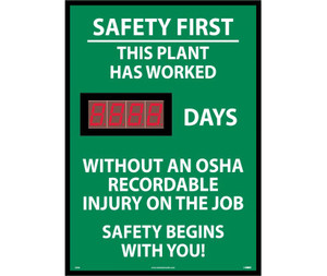 """Safety First This Plant Has Worked Digital Scoreboard Rigid Plastic, 28"""" X 20"""""""