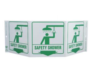 "Green Work Safety Shower Sign Rigid Plastic, 7.5"" X 20"""