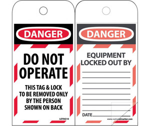 "Danger Do Not Operate Tag Polytag, 6"" X 3"""