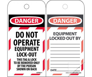 """Danger Do Not Operate Equipment Lock-out Tag Polytag, 6"""" X 3"""""""