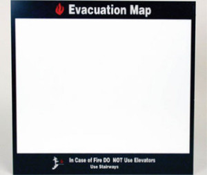 "Evacuation Map In Case Of Fire Sign Acrylic .125, 11"" X 11.5"""