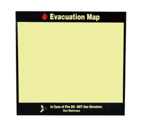 "Evacuation Map In Case Of Fire Sign Rigid Plastic, 11"" X 11.5"""