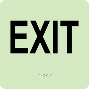 """Glow Exit Braille Sign Engraved Signs, 8"""" X 8"""""""