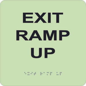 """Glow Exit Ramp Up Braille Sign Engraved Signs, 8"""" X 8"""""""