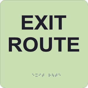 """Glow Exit Route Braille Sign Engraved Signs, 8"""" X 8"""""""