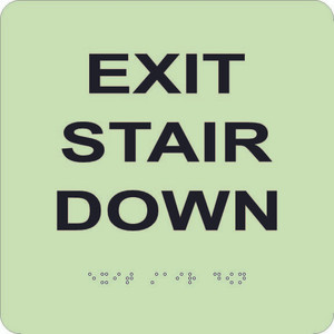 "Glow Exit Stair Down Braille Sign Engraved Signs, 8"" X 8"""