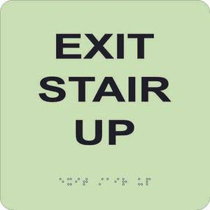 """Glow Exit Stair Up Braille Sign Engraved Signs, 8"""" X 8"""""""