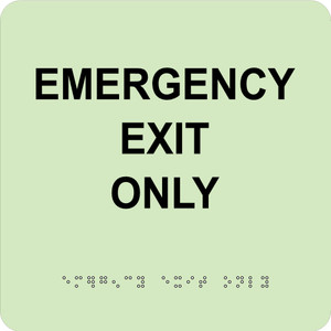 """Glow Emergency Exit Only Braille Sign Engraved Signs, 8"""" X 8"""""""