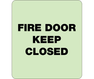 """Glow Fire Door Keep Closed Braille Sign Engraved Signs, 8"""" X 8"""""""