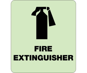 """Glow Fire Extinguisher Braille Sign Engraved Signs, 9"""" X 8"""""""