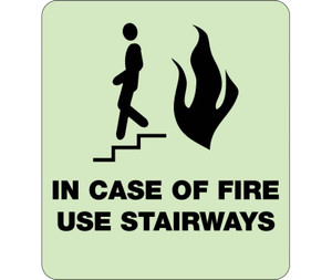 """Glow In Case Of Fire Use Stairways Braille Sign Engraved Signs, 9"""" X 8"""""""