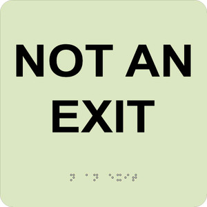 """Glow Not An Exit Braille Sign Gravoply Tactile Braille, 8"""" X 8"""""""