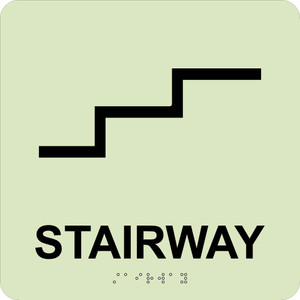 """Glow Stairway Braille Sign Engraved Signs, 8"""" X 8"""""""