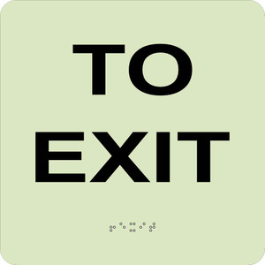 """Glow To Exit Braille Sign Engraved Signs, 8"""" X 8"""""""