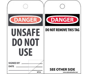 """Danger Unsafe Do Not Use Tag Polytag, 6"""" X 3"""""""