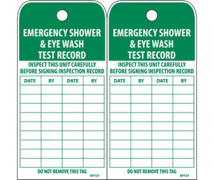 Emergency Shower & Eye Wash Test Record Tag Poly
