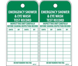 Emergency Shower & Eye Wash Test Record Tag Poly