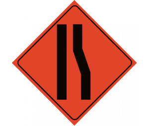 """Reflective Roll-up Merge Left Lane Sign, 48"""" X 48"""""""