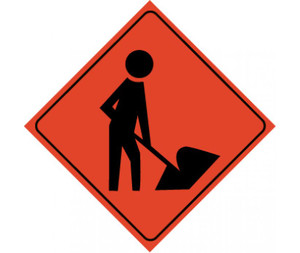 """Reflective Roll-up Workers Ahead Sign, 48"""" X 48"""""""