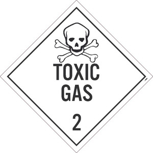 """Toxic Gas 2 Dot Placard Sign Unrippable Vinyl, 10.75"""" X 10.75"""""""