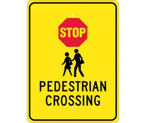 "Stop Pedestrian Crossing Sign Heavy Duty Reflective Aluminum, 24"" X 18"""