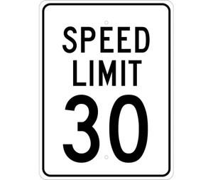 "Speed Limit 30 Sign Heavy Duty High Intensity Reflective Aluminum, 24"" X 18"""